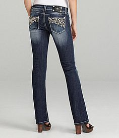 Miss Me Jeans Swirl-Deco Embellished Bootcut Jeans