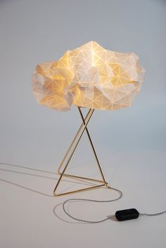 Origami table lamp White shade Gold base textile lamp by mikabarr