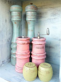Colorful Shabby Chic Salt and Pepper Shakers....wooden salt/pepper shakers now on my thrift store list