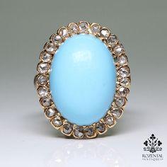 Antique Victorian 18k Gold Diamond & Turquoise Ring – Rozental Antiques