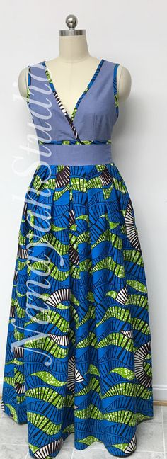 Collection DENWAX Sleeveless denim maxi dress with African print. Latest African Fashion Dresses, African Dresses For Women, African Print Dresses, African Print Fashion, African Attire, Denim Maxi Dress, African Traditional Dresses, Fashion Outfits, Print Denim