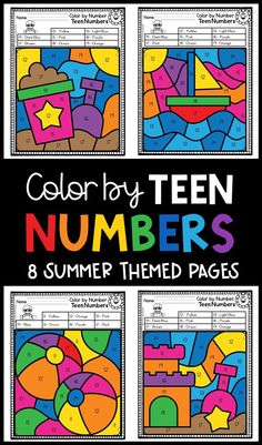 Students learn to identify teen numbers with these fun color by number worksheets.  These color by code worksheets are summer themed for lots of fun! Sight Word Flashcards, Sight Word Worksheets, Number Worksheets, 1st Grade Activities, 1st Grade Math, Kindergarten Math, Teen Numbers, Letters And Numbers, Letter Of The Day