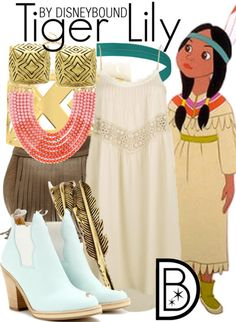 Disney Bound: Tiger Lily from Peter Pan Disneybound Outfits, Disney Outfits, Cute Outfits, Disney Clothes, Movie Outfits, Funky Outfits, Disney Dresses, Disney Shirts, Night Outfits