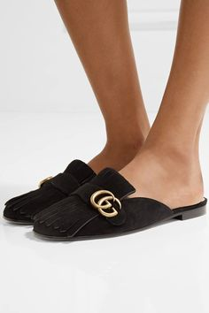 Gucci - Marmont Fringed Suede Slippers - Black