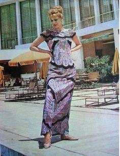Melina Mercouri at Athens Hilton, Gynaika magazine 1960s Fashion Women, Womens Fashion, Die A, Motown, Athens, Flower Power, 50th, Actresses, Summer Dresses
