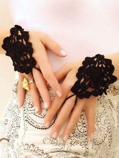 Black crochet lace mittens, fingerless gloves