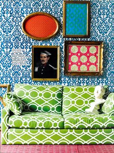 Robert Allen@Home Fabric Lattice Bamboo/Leaf, shown on p. 212 of the Nov issue of AD Mexico
