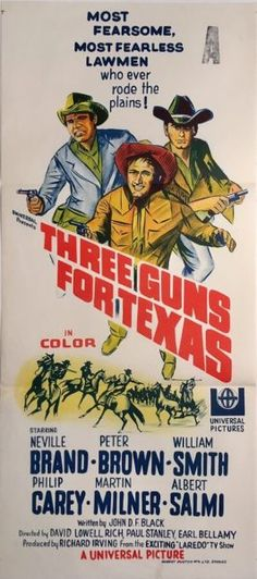 Three Guns For Texas original 1968 Australian/NZ Daybill western movie poster. Available for purchase from our website.