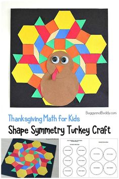 Shape Symmetry Turkey Craft: Thanksgiving and fall math activity for kids using paper shapes with free printable template! Animal Crafts For Kids, Art Activities For Kids, Crafts For Kids To Make, Preschool Activities, Art For Kids, Thanksgiving Crafts For Kids, Thanksgiving Activities, Autumn Activities, Fall Crafts