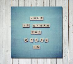Scrabble quote wall art - Home is where the heart is!