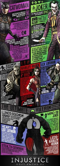 Injustice: Gods Among Us villains infographic    If I ever bring back book reports.., or maybe a visual for symbolic characters (gatsby, young goodman brown, masque of the red death, hmmm..,)