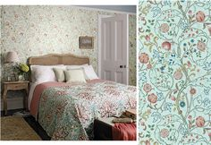 Tapet 81537: Mary Isobel Silk Blue/Pink från William Morris & Co - Tapetorama