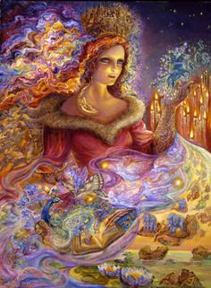 The Enchantress weaves her wondrous magic amid floating candlesticks. Swirling spells create a host of surreal scenes. A mermaid riding a blue unicorn, autumn leaves floating down giving elephants a ride, whilst a boy helps a little girl to climb out of a magical picture book. All the joyous fairies and butterflies fly around joining in the fun.  Josephine Wall .(Acrylic on Canvas) 40 x 30 – 2009