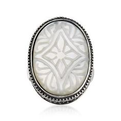 Carved Floral Mother-Of-Pearl Ring In Sterling Silver