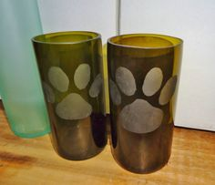 Recycled Wine Bottle Glasses with Hand Etched Paws!  $32.00