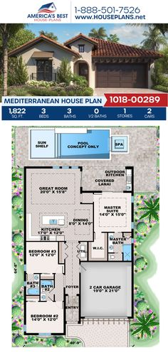 If you love the Mediterranean style, get to know Plan 1018-00289! It is complete with 1,822 sq. ft., 3 bedrooms, 3 bathrooms, a kitchen island, an open floor plan, a lanai, and a 2 car garage. #mediterraneanstyle #mediterraneanhome #architecture #houseplans #housedesign #homedesign #homedesigns #architecturalplans #newconstruction #floorplans #dreamhome #dreamhouseplans #abhouseplans #besthouseplans #newhome #newhouse #homesweethome #buildingahome #buildahome #residentialplans… Brick House Plans, Large House Plans, Open Floor House Plans, Porch House Plans, Farmhouse Floor Plans, Basement House Plans, Home Design Floor Plans, Craftsman House Plans, Best House Plans