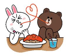 Spaghetti Dinner Spaghetti Dinner, Cony Brown, Bunny And Bear, Dinner Tonight, Line Friends, Cartoon Design, Cute Gif, Line Sticker, Gif Pictures