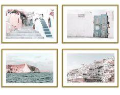 Greece Prints Set of 4 Travel Wall Art Home Decor Santorini Gallery Wall Set