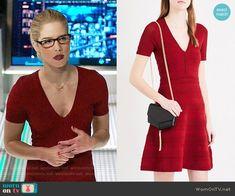 Felicity's red v-neck dress on Arrow.  Outfit Details: https://wornontv.net/89217/ #Arrow