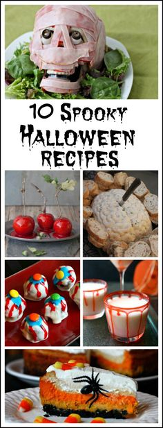 10 Spooky Halloween Recipes:  Meat Brain, Eyeball Truffles recipe, Brain Dip Recipe, Vampire Punch recipe, Bloody Caramel Apples recipe, How to Make Fake Blood and more!