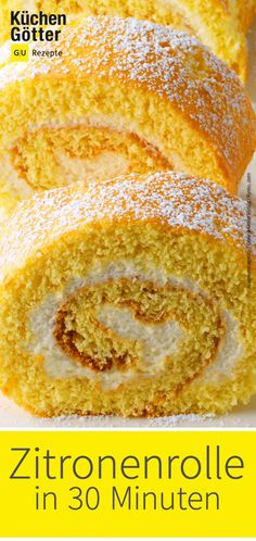 Schnelle Zitronenrolle Lemon roll quickly on the table? That goes with our recipe. Look forward to a delicious and easy Food Cakes, Köstliche Desserts, Dessert Recipes, Lemon Desserts, Quick Rolls, Spice Cupcakes, Appetizer Recipes, Cookie Recipes, Food And Drink