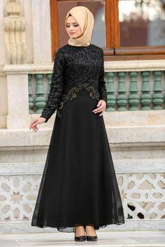 2018 Yeni Sezon Abiye Elbiseler - Neva Style - Payetli Dantel Detaylı Siyah Tesettür Abiye Elbise 25311S