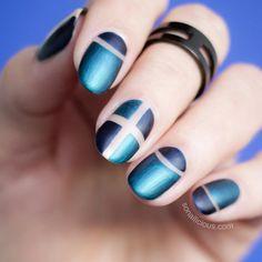 Blue Matte Negative Space nails