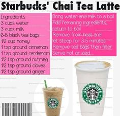 Chai tea latte (try? use less honey for sure) Starbucks Chai Tea Latte Recipe, Chai Tea Recipe, Starbucks Recipes, Starbucks Drinks, Coffee Drinks, Tea Drinks, Starbucks Calories, Iced Latte, Cold Drinks