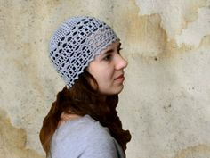Personalized Color Women's Hat Beanie - Crochet Gray Summer Hat of Pure Cotton - Yoga Sun Beanie Hat - ItWasYarn Hair Coverage Women's Hats