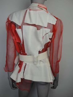 View this item and discover similar for sale at - Comme des garcons Spring 2007 deconstructed jacket with belt. Punk Fashion, Fashion Brand, Runway Fashion, Fashion Art, High Fashion, Fashion Looks, Fashion Outfits, Womens Fashion, Fashion Design