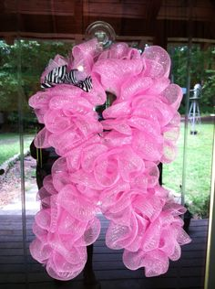 Breast Cancer Mesh Ribbon Wreath by MeshedUpCreations on Etsy, $45.00