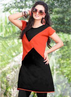 Hypnotex Black & Orange Solid Kurti #Kurti #Orange #Black