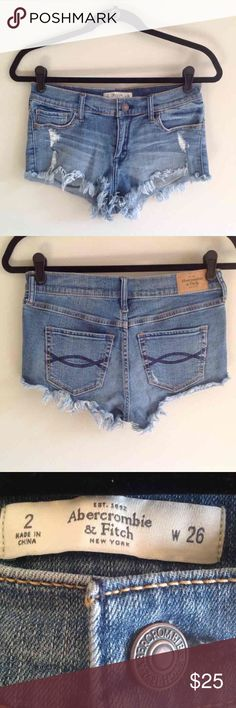 Abercrombie & Fitch high waisted shorts Abercrombie high waisted jean shorts. Factory distressed and frayed, festival shorts. Shortie shorts. High rise shorts. Size 2. Bundle to save! Abercrombie & Fitch Shorts Jean Shorts