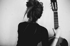 favorite kind of messy bun + guitar = love