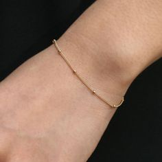 Gelang Manik-manik emas, tipis Minimalis Gelang, Dot, kecil Mungil, Satellite Gelang, Ftacking Gelang untuk Wanita SH015