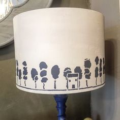 Trees from Annie Sloan Stencil Collection on a lampshade using Chalk Paint™ in Aubusson