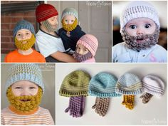 How to DIY Adorable Crochet Bobble Bearded Beanies | iCreativeIdeas.com Follow Us on Facebook --> https://www.facebook.com/icreativeideas