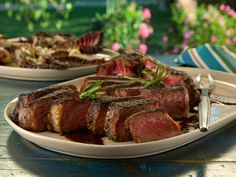 Bistecca alla Florentine with Balsamic-Rosemary Steak Sauce and Grilled Treviso with Gorgonzola from FoodNetwork.com