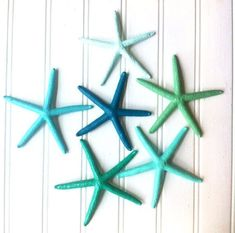 Coastal Christmas ornaments Starfish painted in sea glass colors by Coconut Beech on Etsy  $15.25 (Set of 6)  Beach beachy seaglass sea side ocean aqua mint blue green grass turquoise teal emerald holiday tree garland topper beach house home décor lake house shore gift under 20 bag tags wrapping paper stocking snow boat Christmas by the sea table hostess gift wedding party