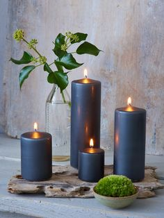 These fabulous slate grey colour coated pillar candles come in 4 sizes and will enhance any candle holder or hurricane lamp! Cheap Candles, Diy Candles, Pillar Candles, Romantic Candles, Beautiful Candles, Advent Candles, Candle Lanterns, Chandeliers, Diy Candle Holders