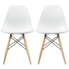 2xhome - Set of Two (2) White - Eames Style Side Chair Natural Wood Legs Eiffel Dining Room Chair - Lounge Chair No Arm Arms Armless Less Chairs Seats Wooden Wood Leg Wire Leg Dowel Leg Legged Base Chrome Metal Eifel Molded Plastic