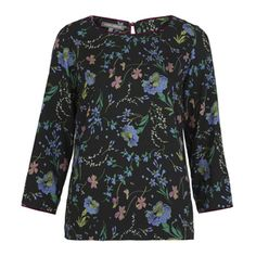 Velvet Piped Floral Print Top