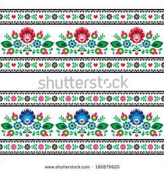Seamless Polish folk pattern with flowers  by RedKoala, #poland #lowicz #wzorlowicki #print