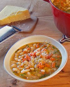 "A dietary staple in Italian cuisine, cannellini beans bring tremendous flavor to this soup. Make it a day ahead of time -- it will taste even better when you're ready to eat it.    From the book ""Lucinda's Rustic Italian Kitchen,"" by Lucinda Scala Quinn (Wiley)."