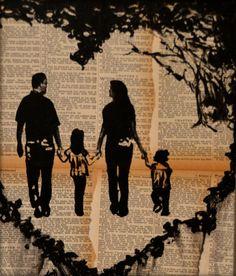 Family Silhouette Portrait Painting