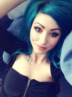 Cheeks piercings & teal hair. dream babe