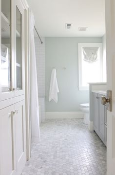 Tile/wall color idea --- Sherwin Williams Sea Salt in a bathroom with marble hexagon tile floor, natural light and white subway tile Bathroom Floor Tiles, Bathroom Renos, Bathroom Remodeling, Tiled Bathrooms, Bathroom Marble, Paint Bathroom, Shower Floor, Small Bathrooms, Dream Bathrooms