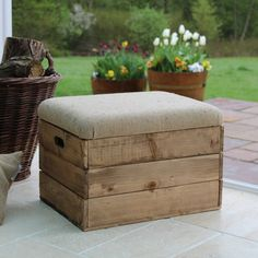 Wooden Crate Storage Seat/Rustic wood storage box/Footstool with Padded Upholstered Hessian Hinged Lid/Crate seat with Jute padded lid