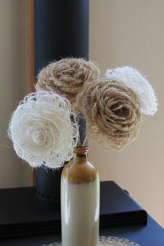 3 Handmade Burlap Flowers Rustic Wedding Flowers Loop by Mugnique