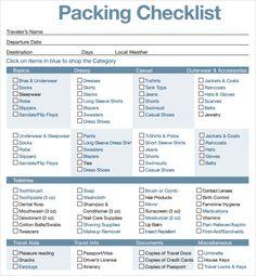 Printable Travel Ng List Sample Checklist For